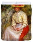 Gabrielle In A Straw Hat 1900 Duvet Cover