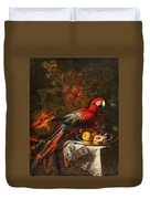 Gabriello Salci  Fruit Still Life With A Parrot Duvet Cover