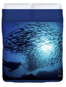 Galapagos Islands Diver Duvet Cover by Dave Fleetham - Printscapes