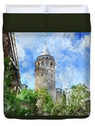 Galata Tower In Istanbul Tukey Duvet Cover