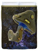 Button In Space Duvet Cover