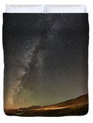 Galena Creek Bridge Under Summer Sky Filled With Milky Way And Mt. Rose In The Background Duvet Cover