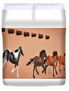 Galloping Horses Mural - Taos Duvet Cover