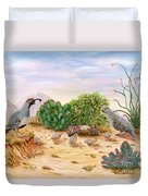 Gambel Quails Day In The Life Duvet Cover by Judy Filarecki