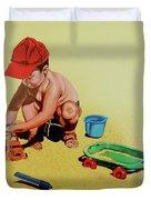 Game At The Beach - Juego En La Playa Duvet Cover