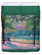 Game Of Tennis Duvet Cover by Spencer Frederick Gore