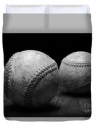 Game Used Baseballs In Black And White Duvet Cover