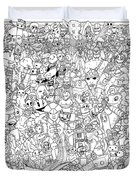 Gaming Themed Coloring Poster Duvet Cover