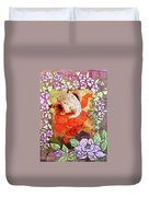 Ganesh In Dancing Pose With Floral Backdrop. Duvet Cover