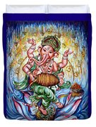 Ganesha Dancing And Playing Mridang Duvet Cover