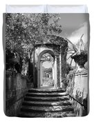 Garden Arches Of Vizcaya - Black And White Duvet Cover