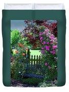 Garden Bench And Trellis Duvet Cover