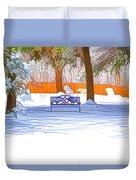 Garden  Bench With Snow Duvet Cover