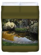 Garden Fountain Pond Duvet Cover