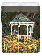Garden Gazebo Watercolor Duvet Cover