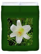 Garden Lily Posterized Background Duvet Cover