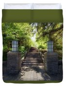 Garden Stone Columns Bench Stairs Path Hardscape Duvet Cover