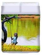 Garden Swing By The River Duvet Cover