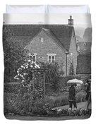 Garden Tour In The Rain Monotone Duvet Cover