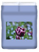 Garden Tulip With Rain Drops On A Spring Day Duvet Cover