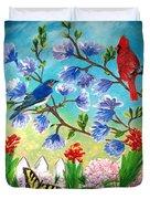 Garden View Birds And Butterfly Duvet Cover
