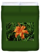 Garden With A Blooming Double Daylily Flowering Duvet Cover
