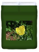 Garden With Beautiful Flowering Yellow Tulip In Bloom Duvet Cover