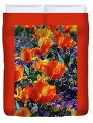 Garden With Blooming Yellow And Red Tulip Blossoms Duvet Cover
