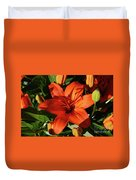 Garden With Lily Buds And A Blooming Orange Lily Duvet Cover