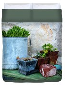 Gardening Pots And Small Shovel Against Stone Wall In Primosten, Croatia Duvet Cover