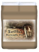 Gas Light At Lafitte's Blacksmith Shop Duvet Cover