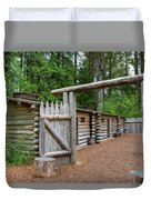 Gate To Log Camp At Fort Clatsop Duvet Cover