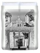 Gate To Ranchos Church Black And White Duvet Cover
