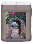 Gate To The Sacred Garden And Bell Wall Mission San Juan Capistrano California Duvet Cover
