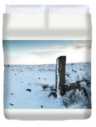 Gatepost In The Snow Duvet Cover