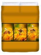 Gathering Pollen Triptych Duvet Cover