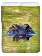 Gator In The Green - Digital Art Duvet Cover