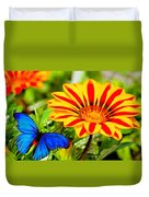 Gazania And Blue Butterfly Duvet Cover