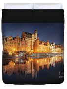 Gdansk By Night Duvet Cover