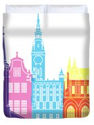 Gdansk Skyline Pop Duvet Cover