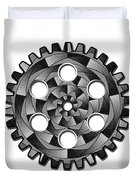 Gearwheel In Black And White Duvet Cover