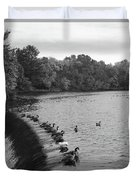 Ducks And Canada Geese On The Charles River Duvet Cover