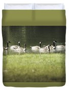 Geese At Spring Meadow Duvet Cover