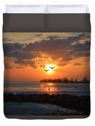 Geese At Sunset Duvet Cover