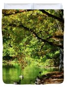 Geese By Pond In Autumn Duvet Cover