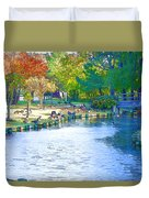 Geese In Pond 2 Duvet Cover