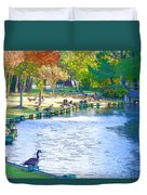 Geese In Pond 3 Duvet Cover