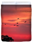 Geese On Their Sunset Arrival Duvet Cover