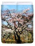 Geese Under Flowering Tree Duvet Cover