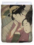 Geisha And Attendant On A Rainy Night Duvet Cover